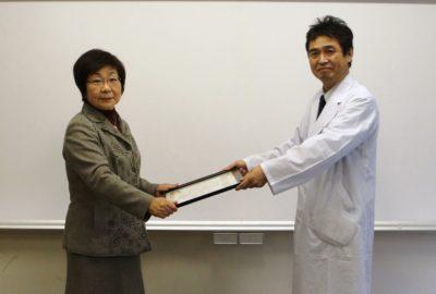 保健衛生関係功労者の県知事表彰(杉原元看護部長)