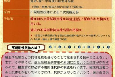 不規則性抗体による副作用について【LAB LETTER No.98】